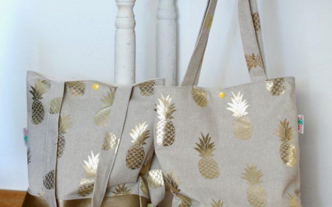 Shopper mit Ananas und Kunstleder in Gold
