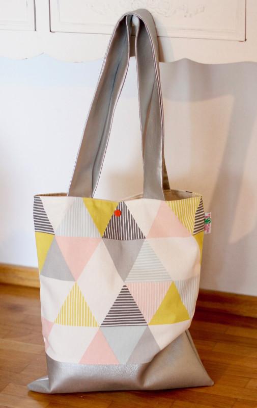 Shopper Geometric-Stoff und Kunstleder in Silber