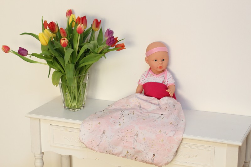Meerjungfrau Pucksack Strampelsack Schlafsack pink Bündchen Totale Blumenstrauß