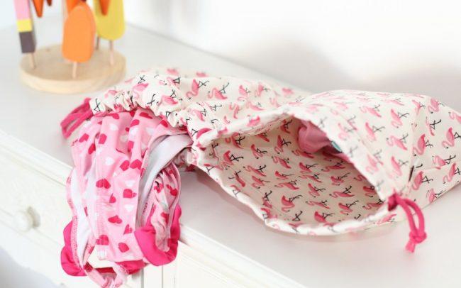 Badebeutel Flamingos Schwimmbeutel Pink zum Wenden