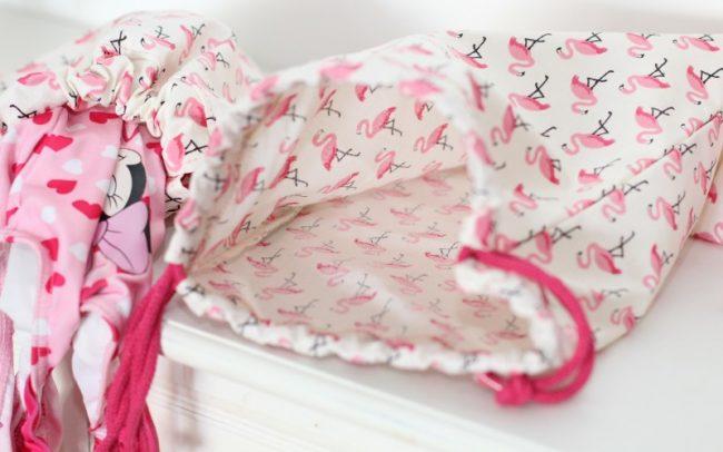 groß Badebeutel Flamingos Schwimmbeutel Pink seitlich offen nicht zum Wenden