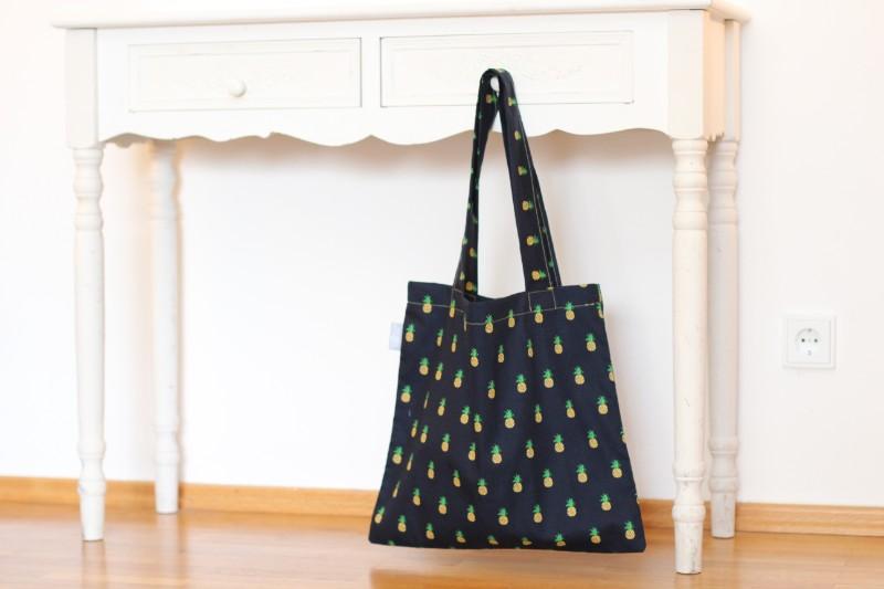 Shopper Ananas schwarz gelb