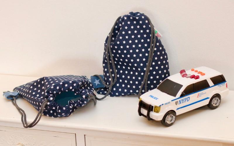 Kinderrucksack Kinder Turnbeutel Sterne weiß Dunkelblau Polizei Polizeiauto