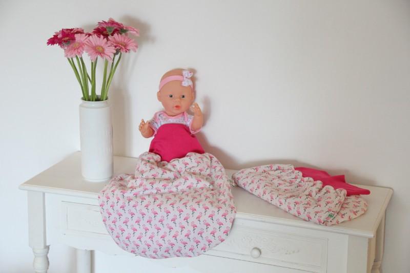 Pucksack Flamingo rosa weis Bündchen nah