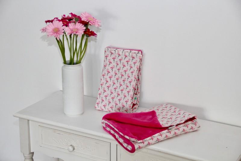 Babydecke Flamingo rosa weiß mit Teddyplüsch in pink