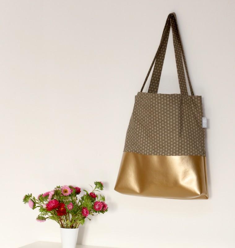 Shopper Miki Star grün Geometrie Stoff Gold Kunstleder