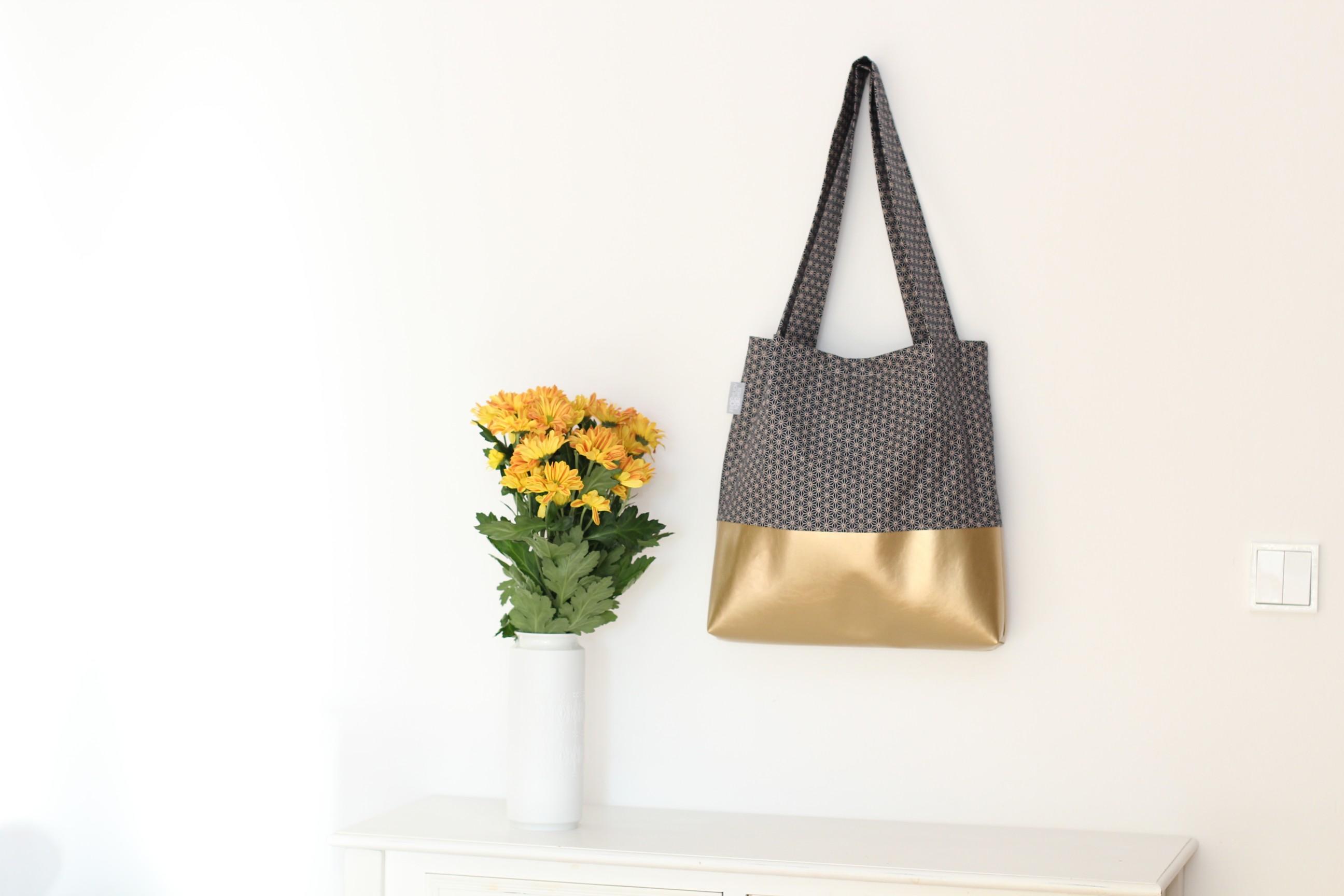 Shopper Miki Star Geometric Gold Kunstleder Dunkelblau