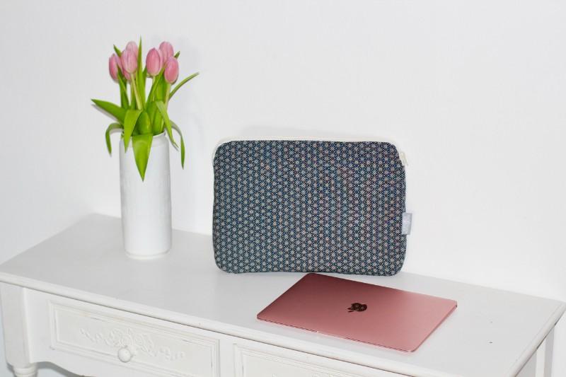 MacBookHülle Laptophülle Case Geometric Miki Star mit Reißverschluss Blau Kork