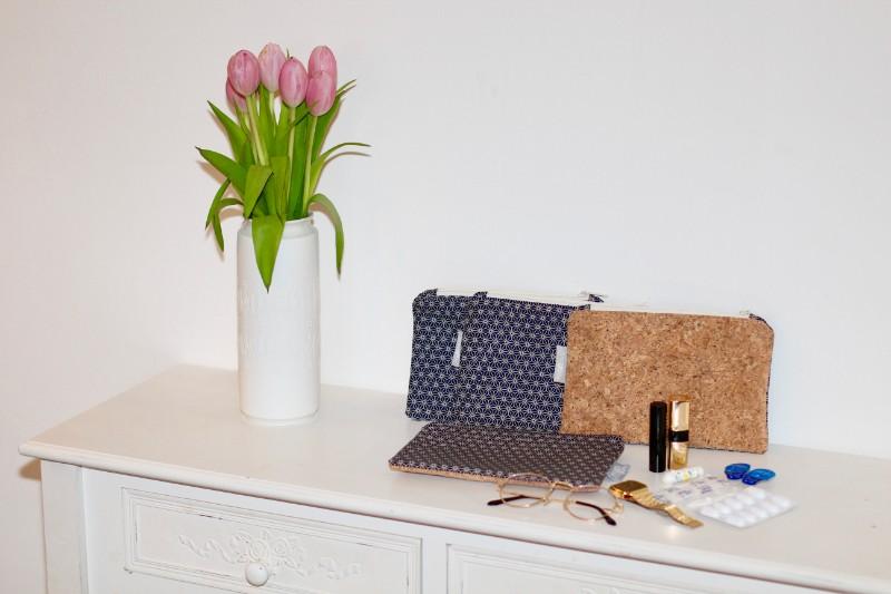 Kosmetiktasche Krimskramstasche Tasche Geometric Miki Star mit Reißverschluss Blau Kork