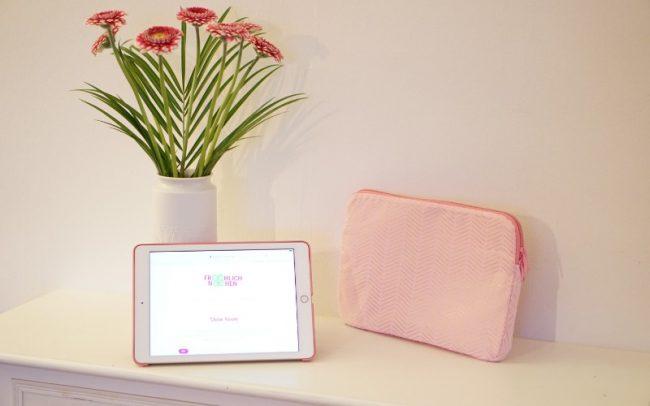 iPad Tablet MacBook Hülle Case Tasche pink gold Kunstleder Glitzerpink vorn iPad