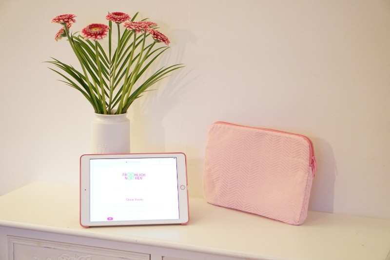 iPad Tablet MacBook Hülle Case Tasche pink gold Kunstleder Glitzerpink vorn iPad