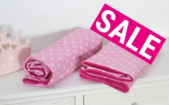 Sale Pink Rosa Sterne Babydecke