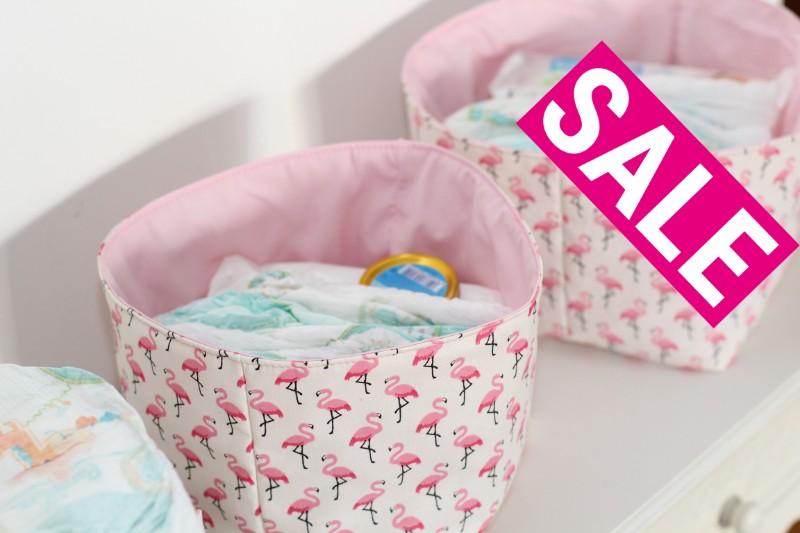 Sale Wickelutensilo Utensilo Flamingos beige rosa