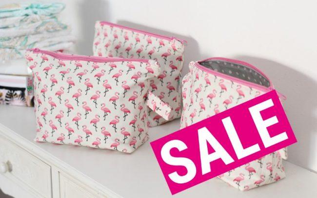Sale Kulturbeutel Wickeltasche Windeltasche Flamingos beige rosa