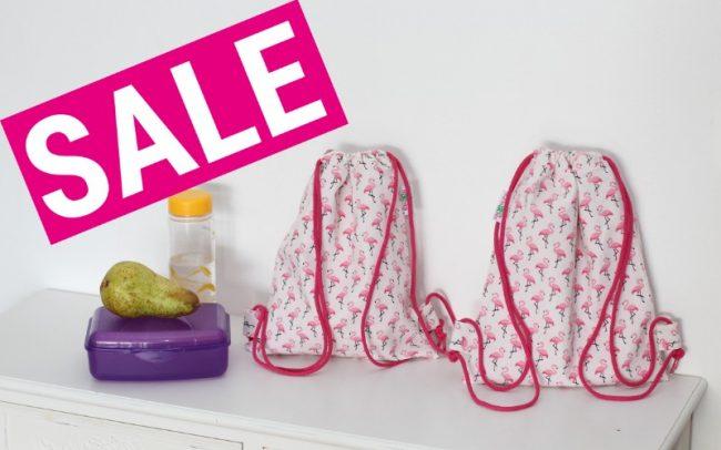 Sale Rucksack Turnbeutel Kinderturnbeutel Flamingos beige rosa