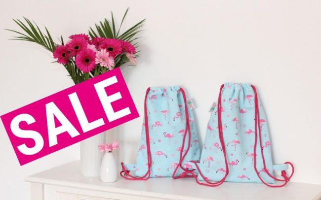 Sale Rucksack Turnbeutel Kinderturnbeutel Flamingos blau rosa pink