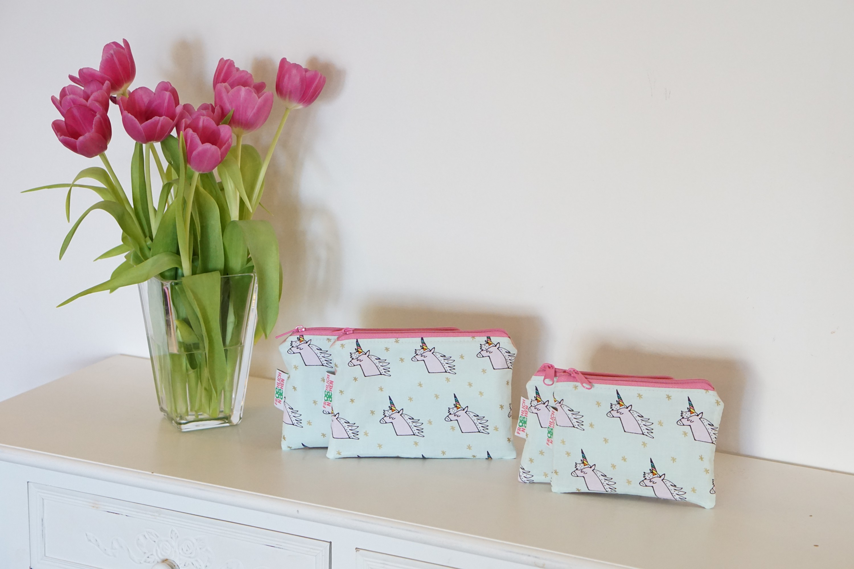 Kleine Tasche Einhorn Einhörner Kunstleder rosa Reißverschluß