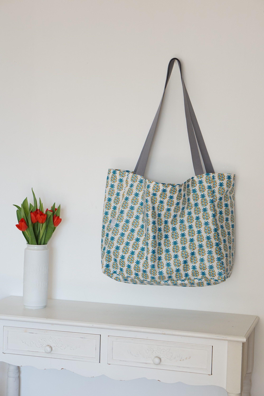 Shopper Badetasche Schwimmtasche Ananas blau grün