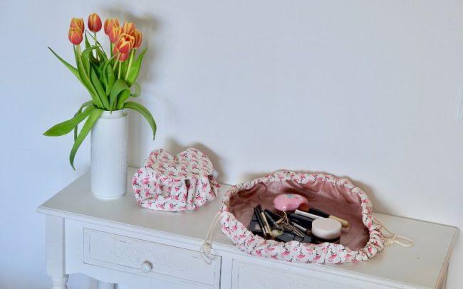 Runde Kosmetiktasche Flamingos Flamingo Beige Rosa Glitzer Rosé