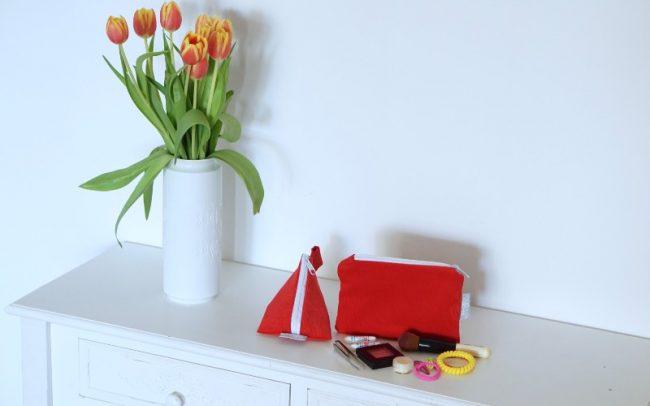 Set Babycord Cord rot Dreieckstasche kleine Kosmetiktasche