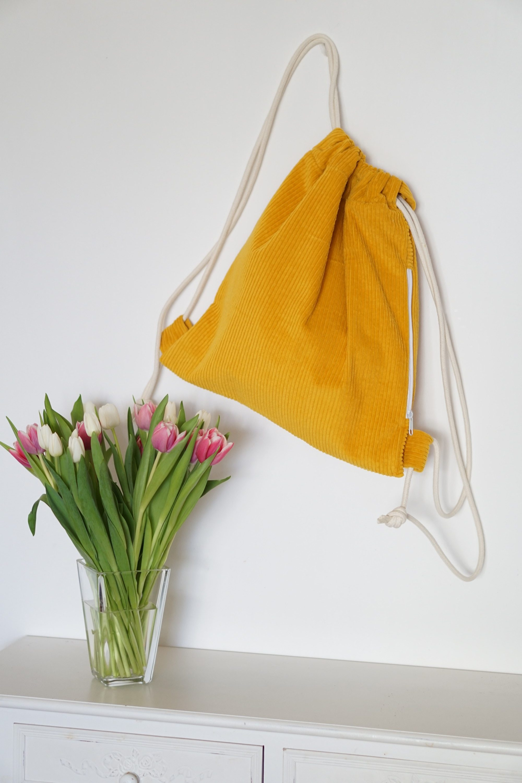 Rucksack Turnbeutel Breitcord Cord senfgelb gelb