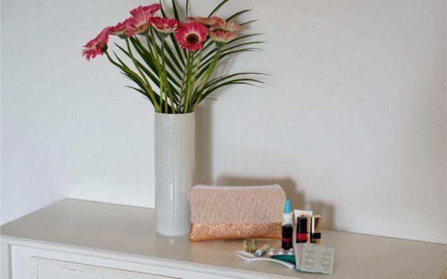 Tasche Kosmetiktasche Kunstleder Glitzer Struktur Coral Koralle