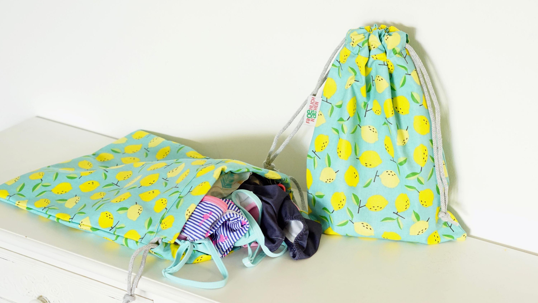 Badebeutel Schwimmbeutel Duschbeutel Zitrone Zitronen gelb blau nasses Badezeug Badesachen