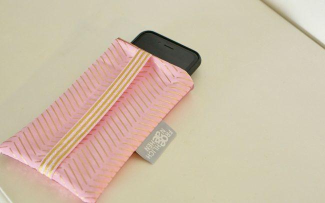Handyhülle Handycase Handyetui pink gold goldene Streifen rosa rosa Reißverschluss Glitzer Kunstleder
