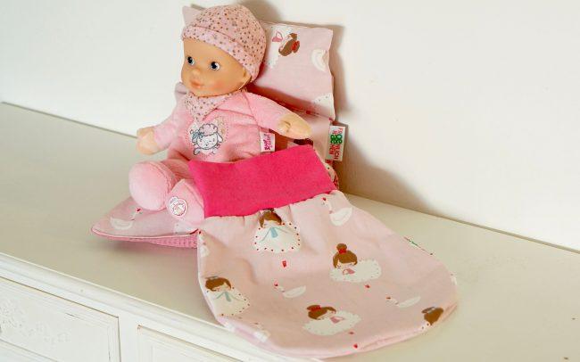 Set Puppenset Baby Annabell Puppe Zirbenholzkissen Zirbenholzduftkissen Rucksack Schlafsack Strampelsack Babybettchen Babybett Babydecke Decke Pink rosa Ballerina