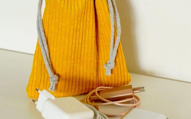 Organizer Kabel Beutel Netzstecker hub Breitcord Cord senfgelb gelb