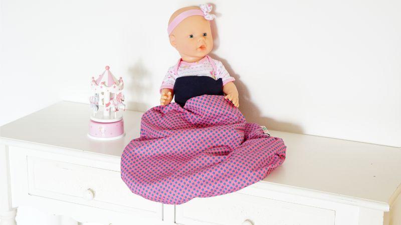 Pucksack Strampelsack Schlafsack Sterne hellblau pink mit dunkelblauem Bündchen