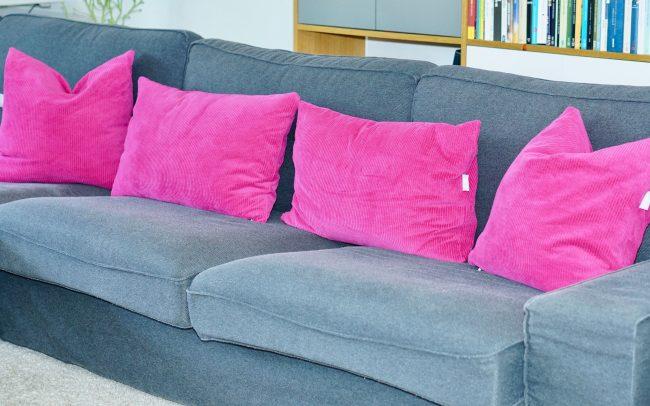 Sofakissen Sofa Kissen Breitcord pink