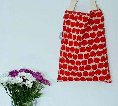 Shopper Tasche Beutel Apfel Äpfel rot beige