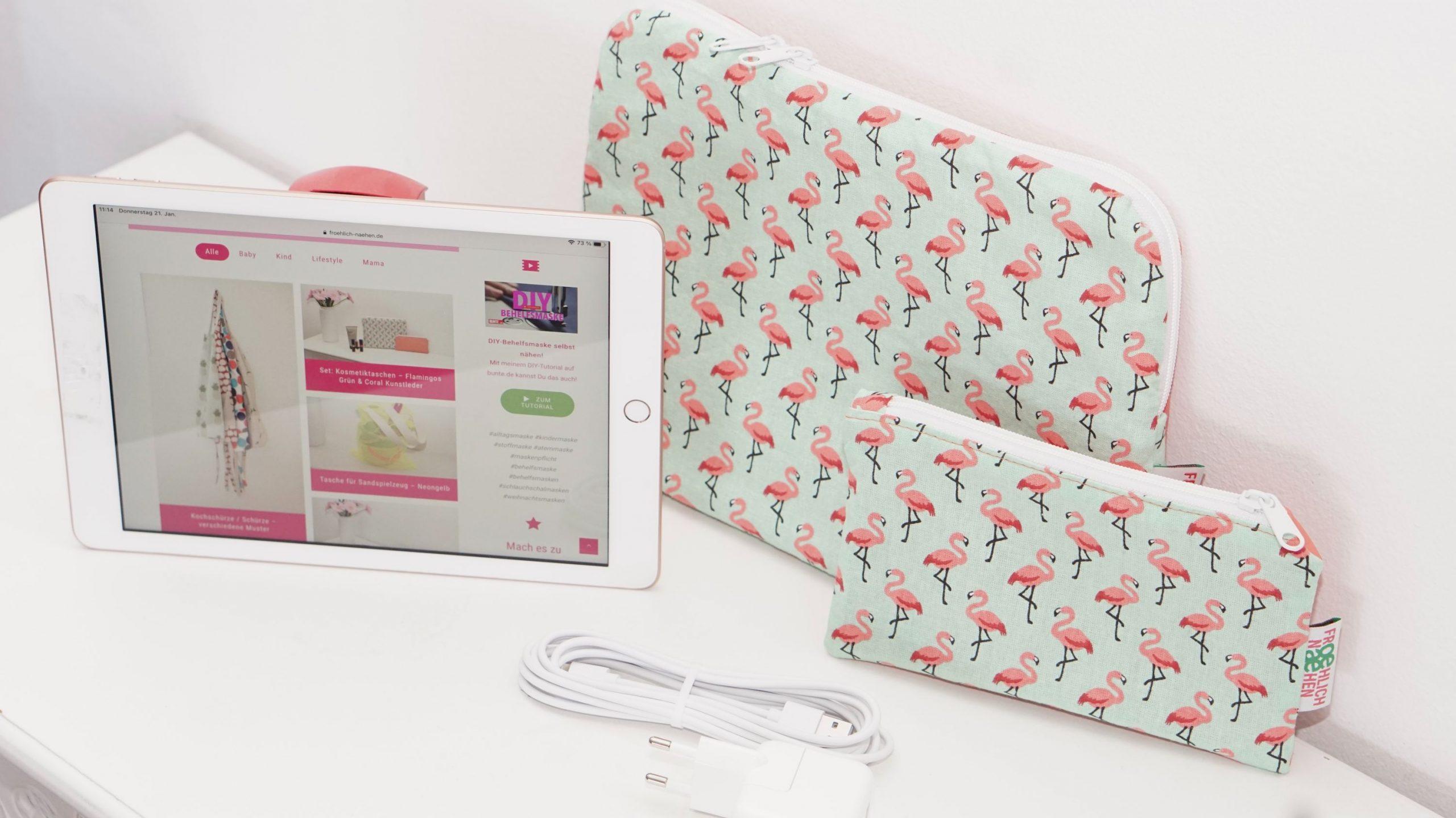 Laptophülle MacBook Case Hülle Notbookhülle Flamingo orange grün Kunstleder coral Koralle