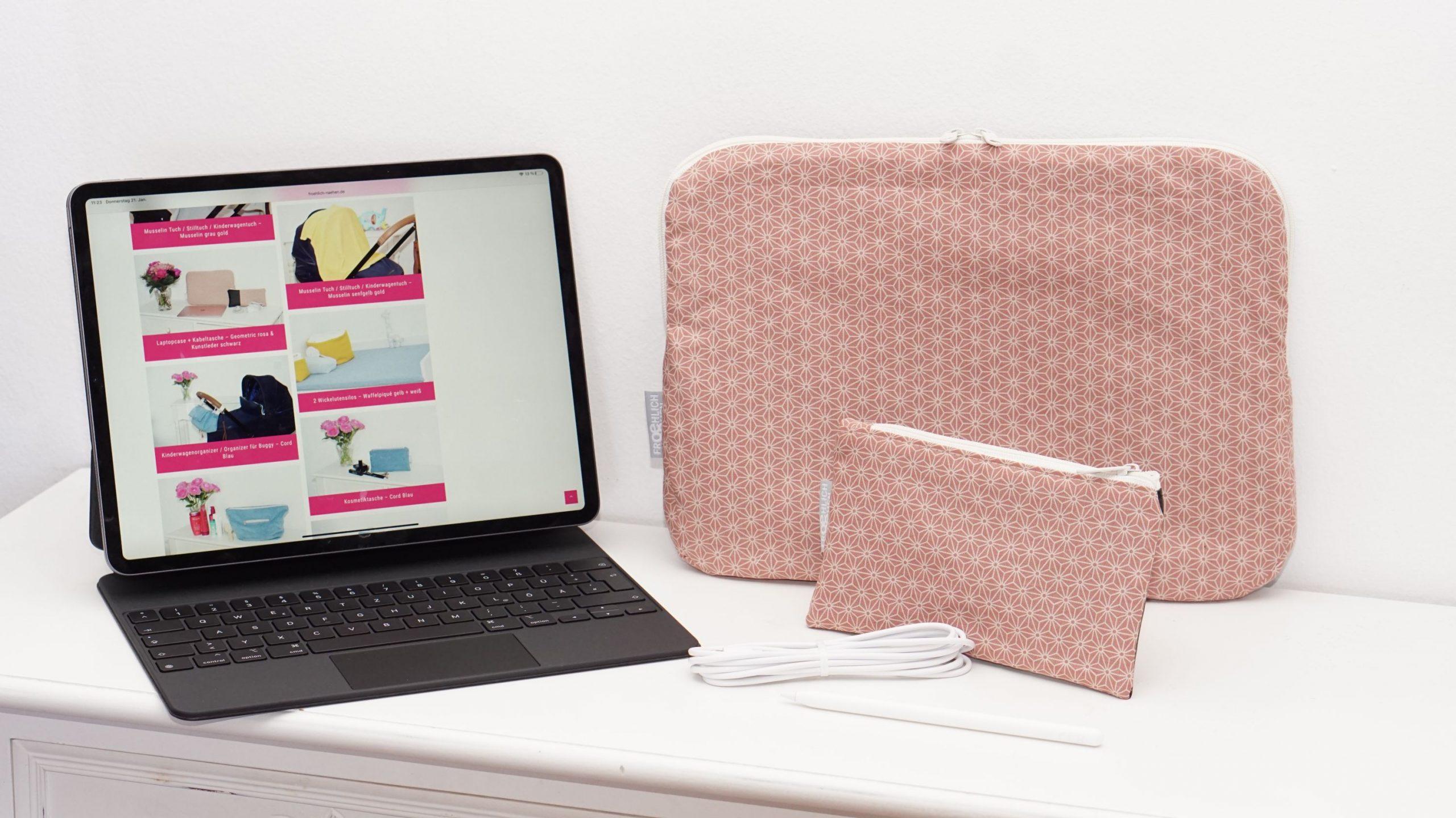 Laptophülle MacBook Case Hülle Notbookhülle Geometric Miki japanisch Altrosa rosa grau Kunstleder schwarz