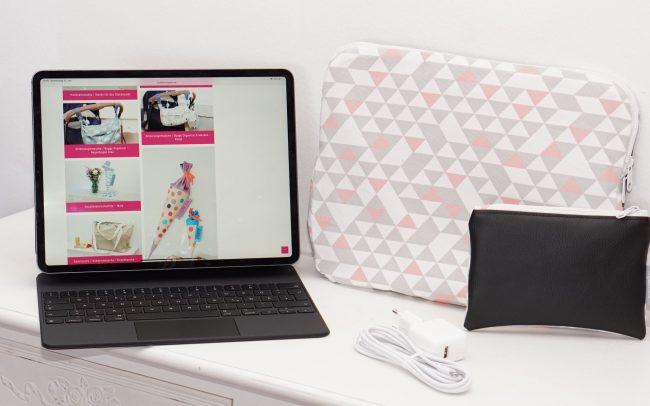 Laptophülle MacBook Case Hülle Notbookhülle Geometric weis rosa grau Kunstleder schwarz